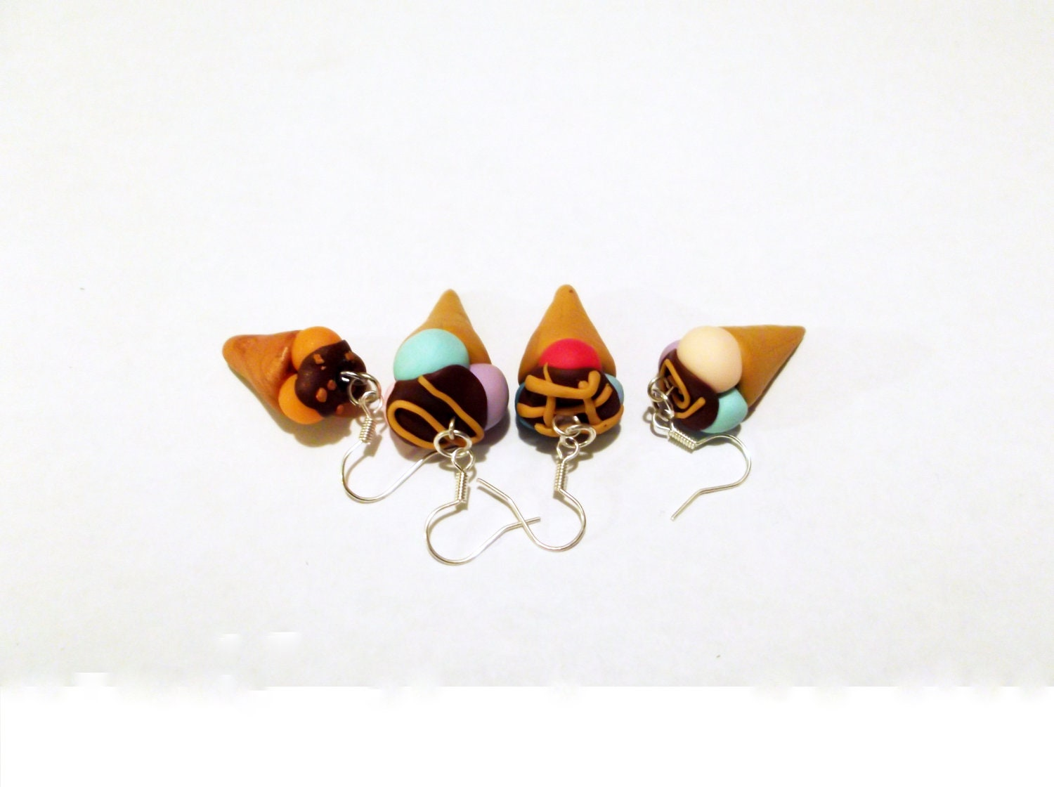 Ice cream (polymer clay) earrings (one pair)