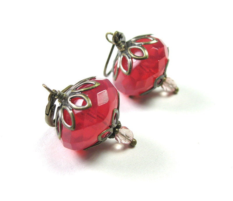 Pink Grapefruit, Czech Glass, Vintage Style Earrings