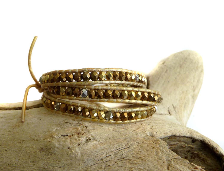 Golden Bronze Czech Leather Wrap Bracelet