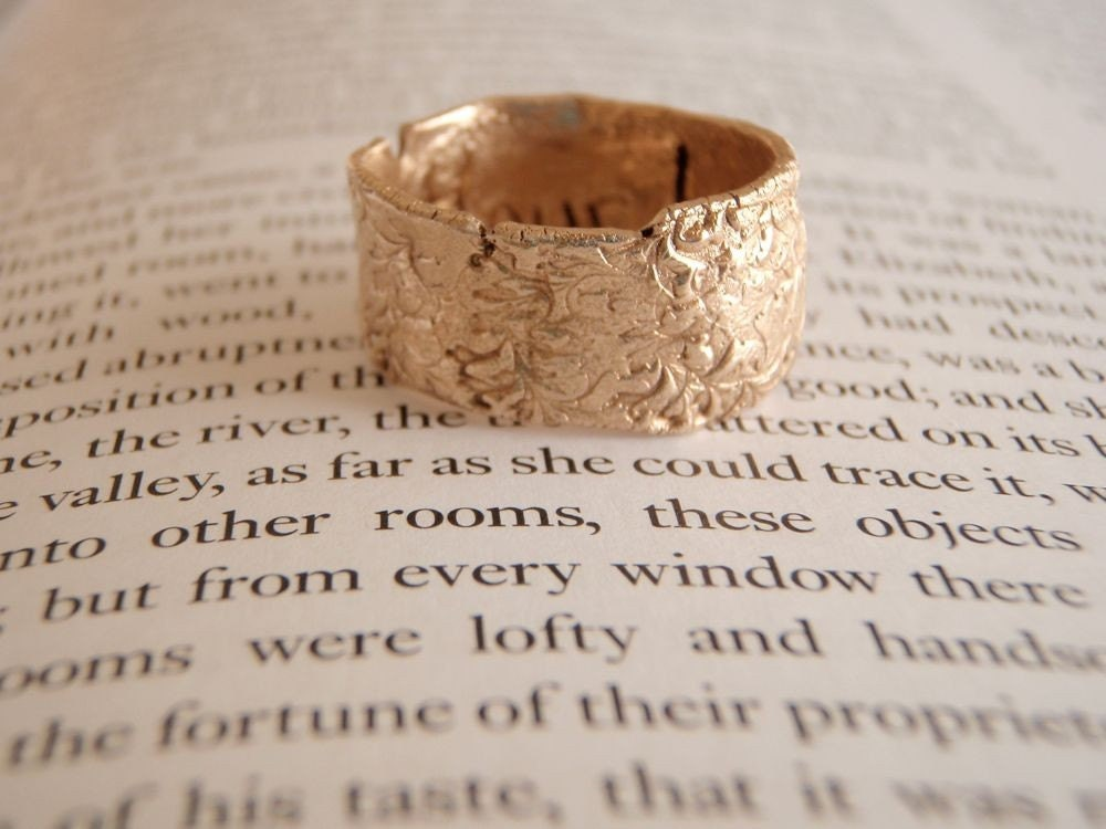recycled bronze ring with follow your heart by peacesofindigo