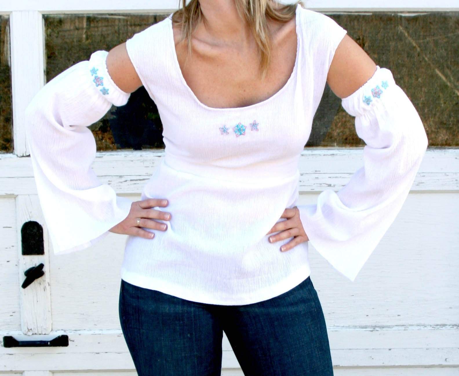 Chelsie Belles hand embroidered empire gauze top