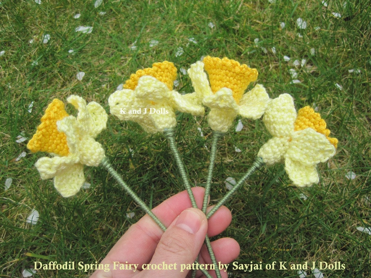 Free Crochet Daffodil Flower Pattern : Daffodil Spring Fairy Amigurumi crochet pattern by K and J ...