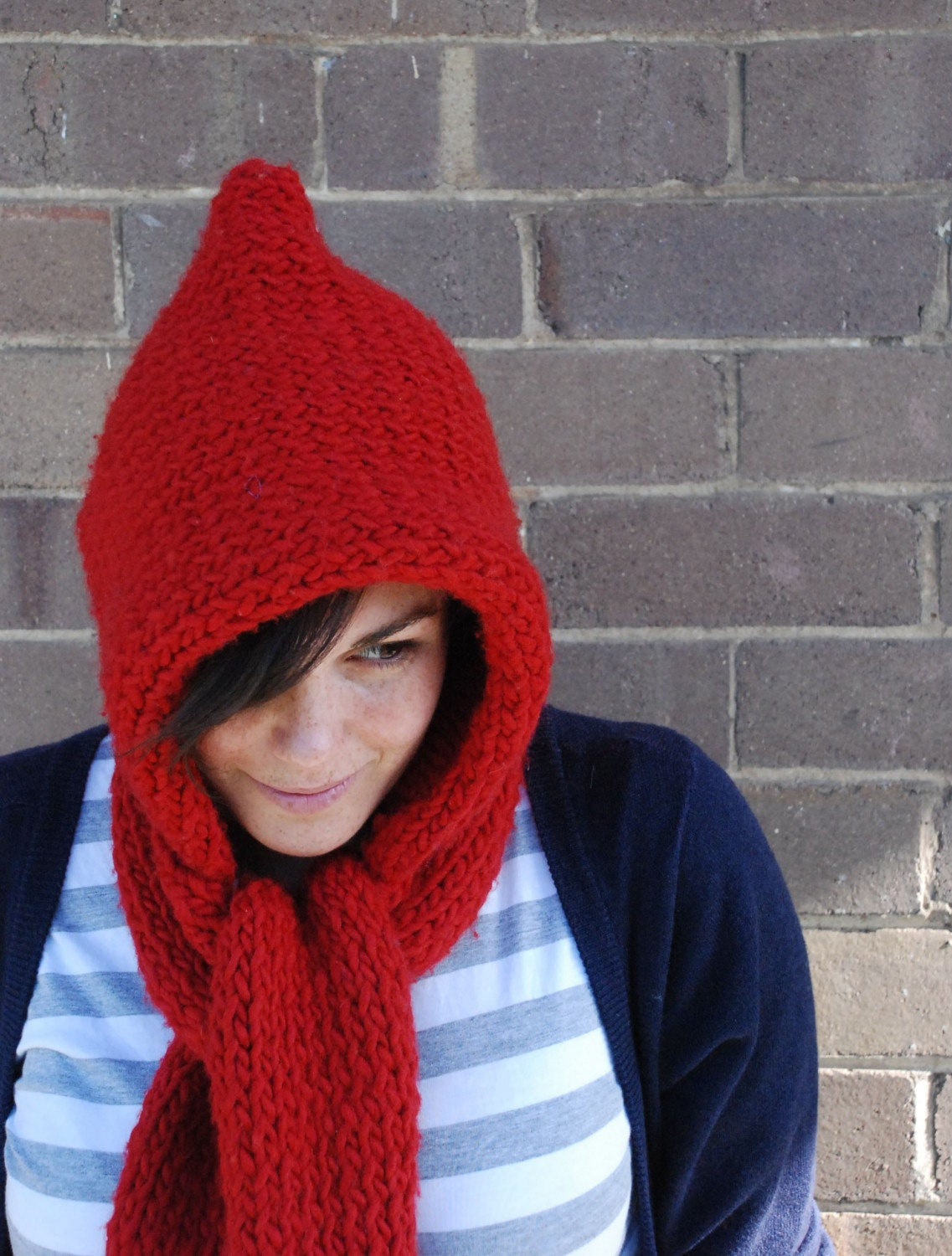 Hooded Scarf LEARN TO KNIT Knitting Pattern by knittyknitty