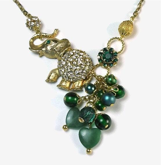 Handmade Necklace -Upcycled Rhinestone Elephant