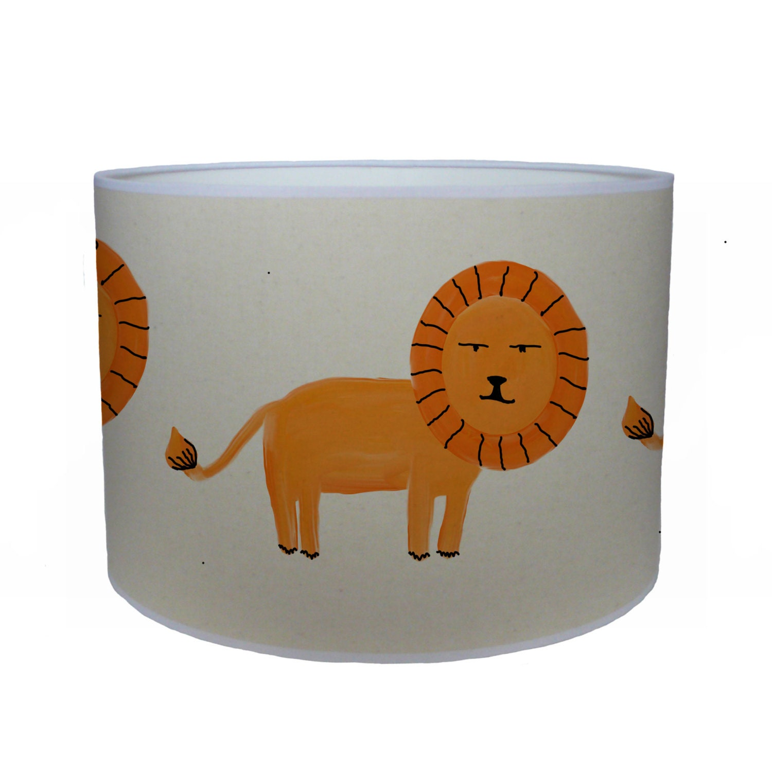 Orange lion shade lamp shade ceiling shade drum lampshade lighting handmade home