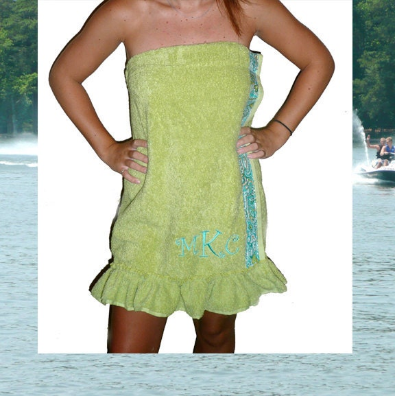 Bath Towel Wrap- Ruffled Spa Towel Wrap,  Lime Green with Teal Paisley trim , Monogram included in the price