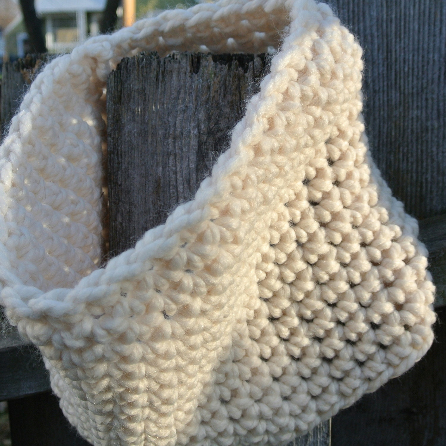SALE Black Friday/Cyber Monday- White Cowl, Crocheted Neck Warmer in Ivory - KnitMomWi