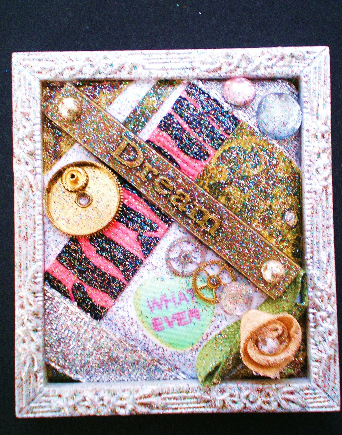 INSPIRATION - Tiny Collage Mixed Media OOAK Framed Signed Sarcastic Inspirational Message with Jewels Flower Heart Ribbon Watch Parts Beads