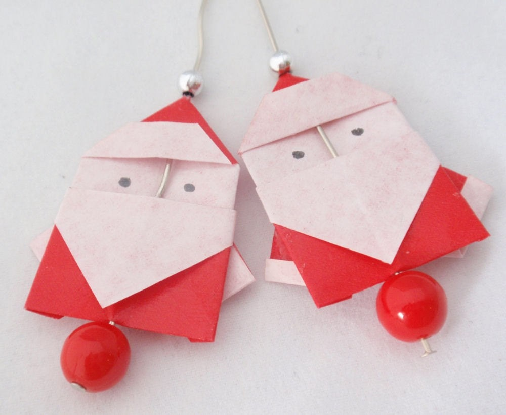 Origami Santa Claus Earrings