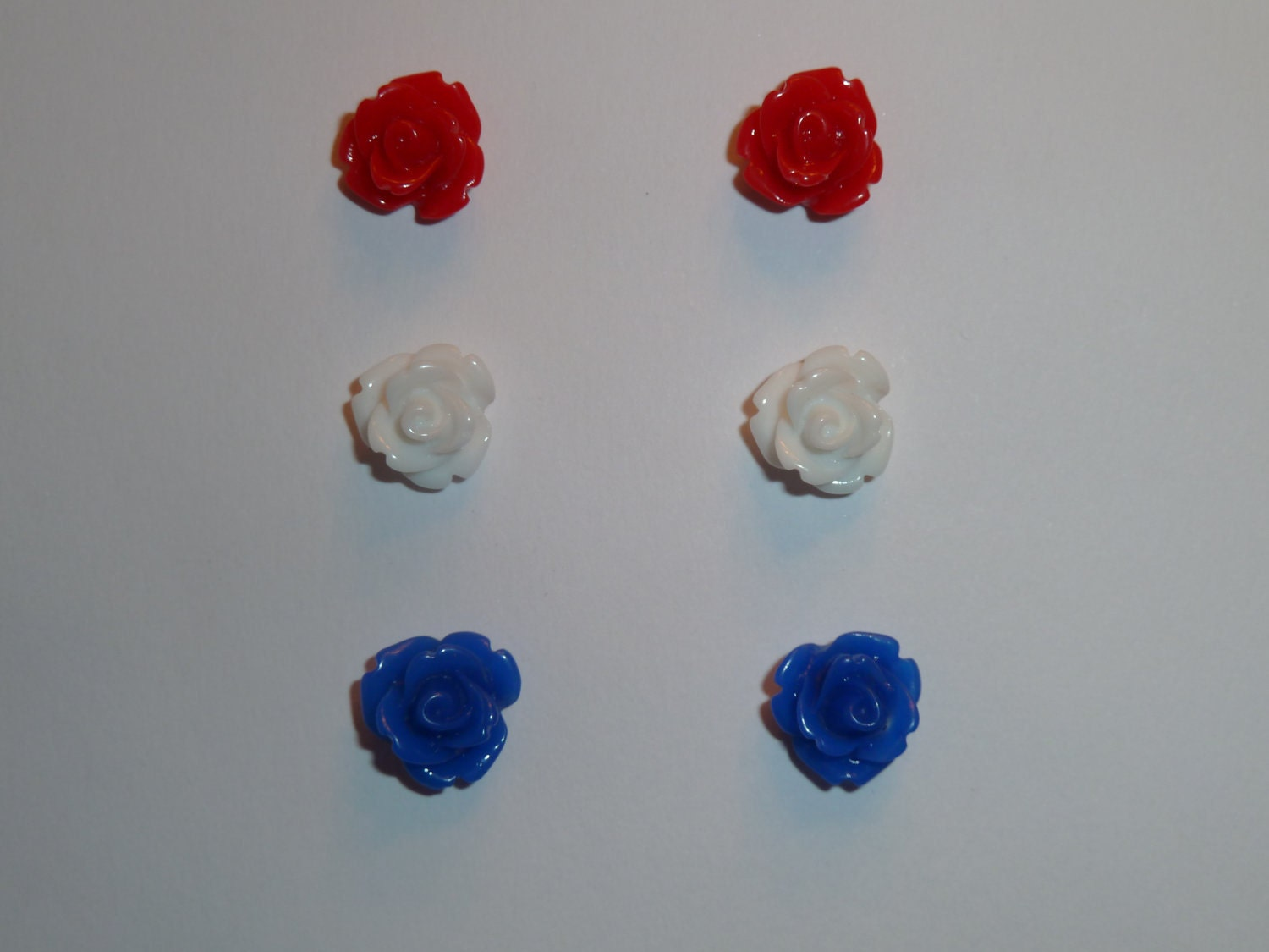 Red, White and Blue Rose Earring Trio