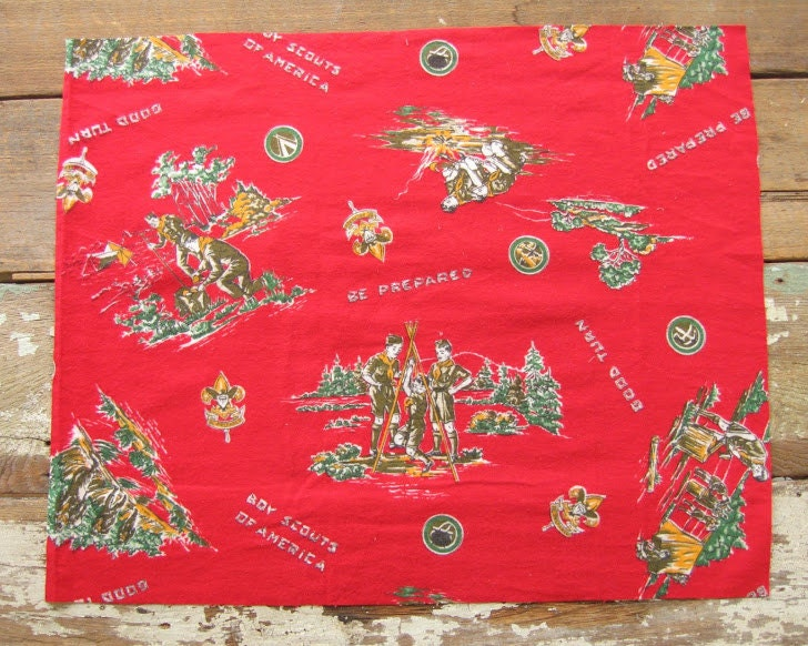 vintage flannel boy scout fabric