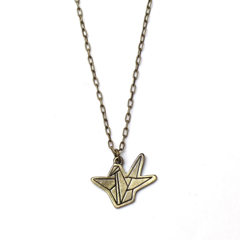 Fold a Crane - Antique Brass Origami Crane Necklace