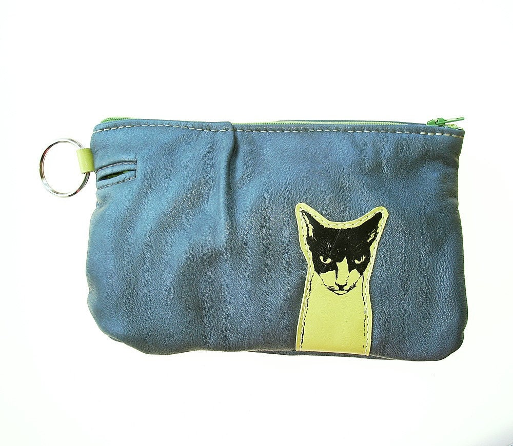 Kitty Pouch  in Grey Recycled Leather