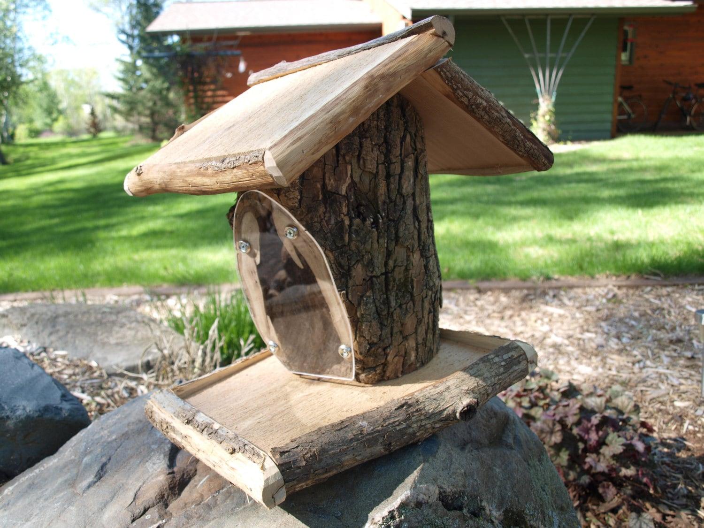 Handmade wooden bird feeder rustic hardwood by jlvwooddesigns for Unique homemade bird feeders