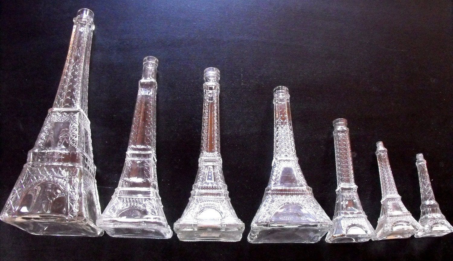 """Eiffel Tower Bottles in 7 'NOW EIGHT' Graduated Sizes from 18"""" to 6 1/2"""" Super and 'So French'"""