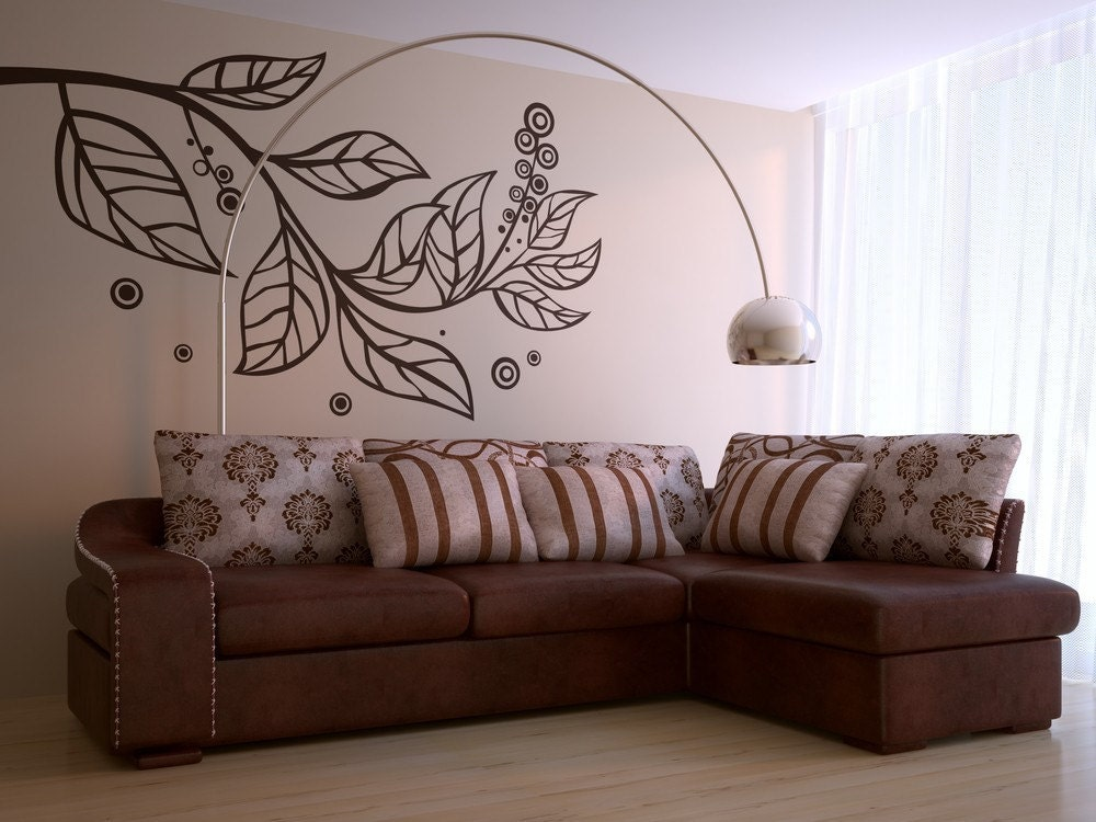 vinyl wall art decals large leafy branch wall decal mini sized - Designer Walls