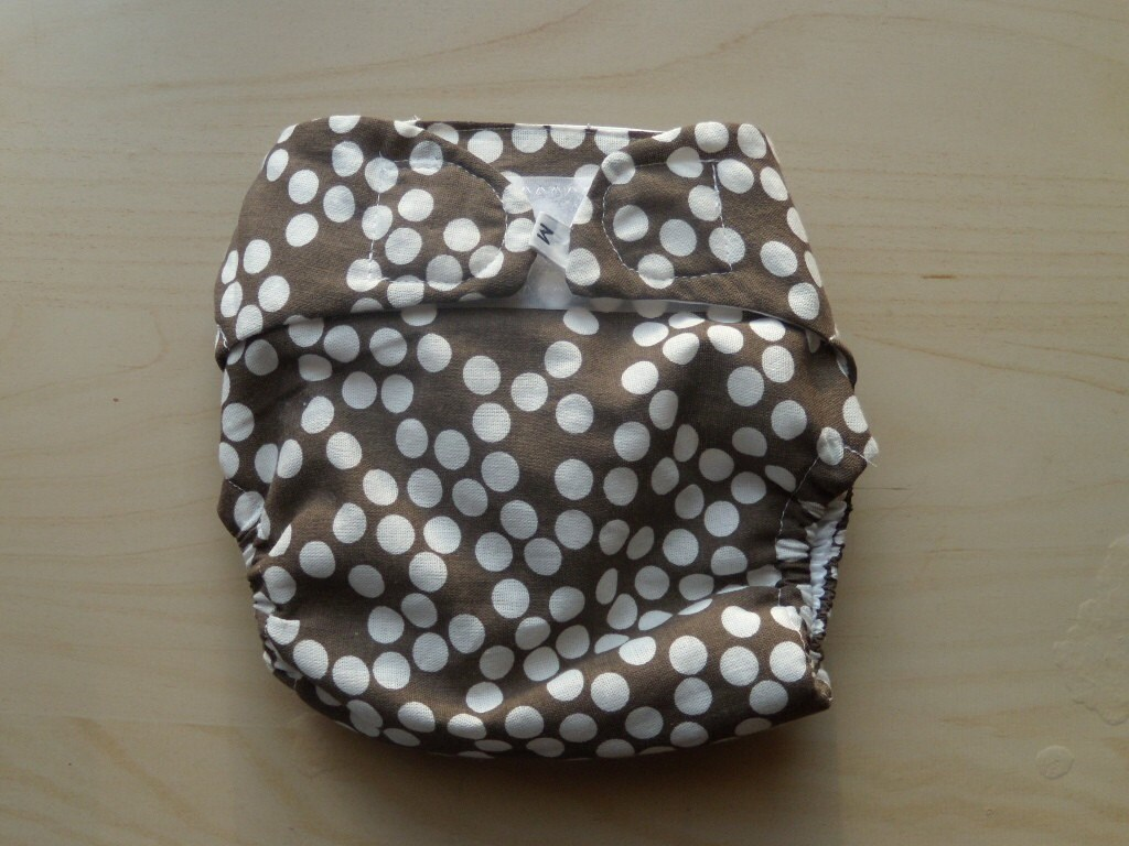 Cloth Diaper Cover- dots on brown- medium