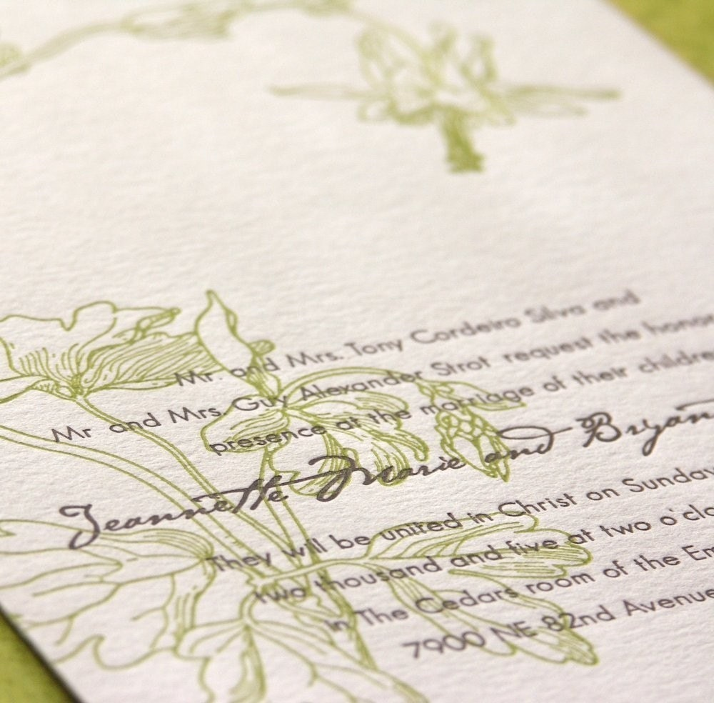 Columbine - Letterpress Wedding Invitation - grass green/cocoa on pearl