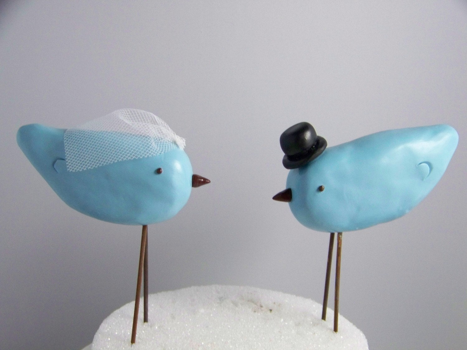 Custom Made Top Hat and Veil Love Birds Cake Topper Colors of Choice