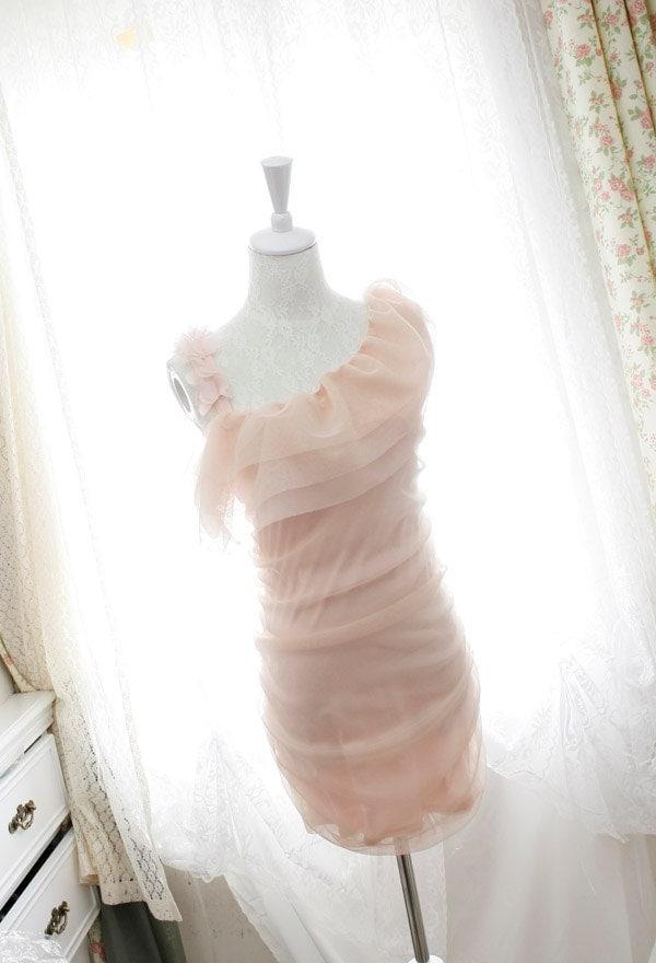 one shoulder dress chiffon floral petals ruffles cape bodycon tulle pale pink dreamy romantic Pastel - miadressshop