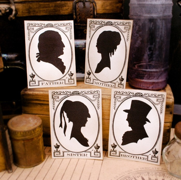 Set of 4 Vintage Style Family Silhouettes Mother Father Brother Sister