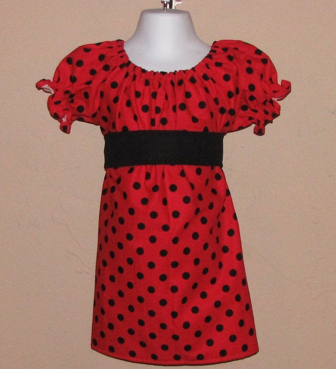 Lady Bug Peasant Dress with Sash 3 6 12 18 month mo 2T 3T 4T 5T 6 7 ..... By Girlie Bows