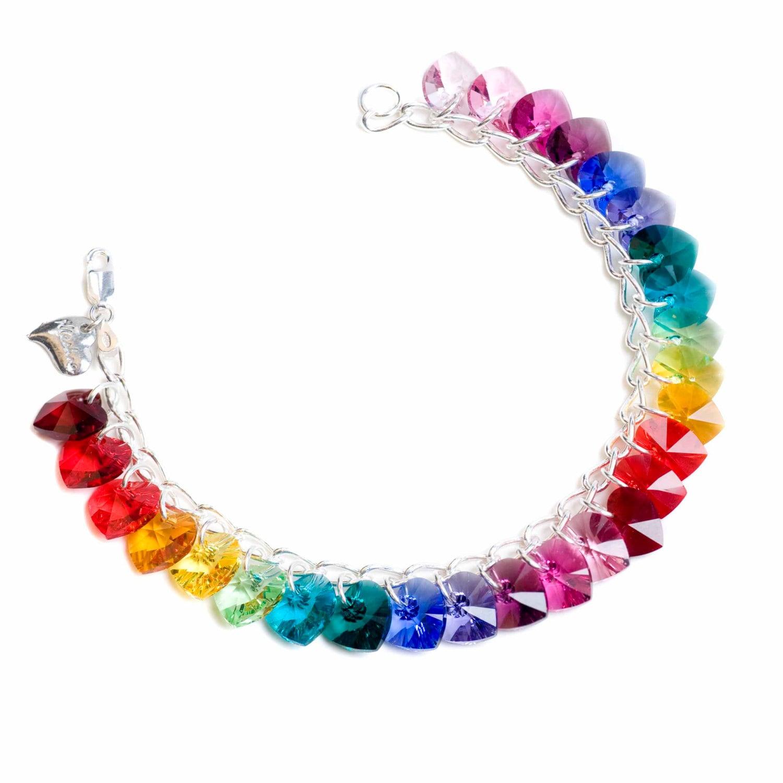 Rainbow Heart to Heart Sterling Silver  SWAROVSKI crystal Charm Bracelet