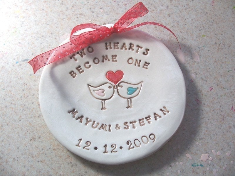 Two Hearts Become One - Engagement - Wedding - Ring Bearer Dish - Gift - Personalize