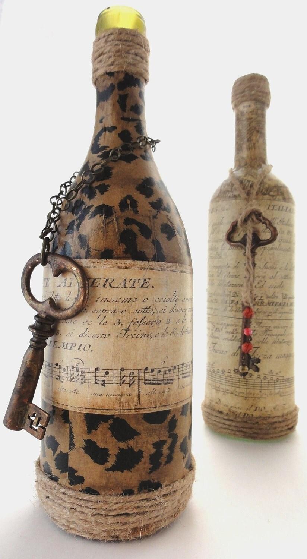 Оливия-Vintage Бутылка Ваза с Leopard для печати, Old Paper Music и Большой Ключ, отлично подходит для свадьбы, и дождь шт Партия центра