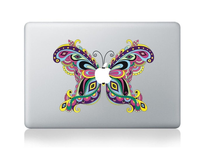 Macbook 13 inch decal sticker butterfly and apple art for Apple Laptop