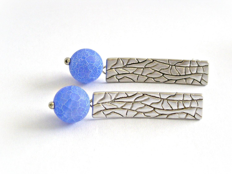 Matte crude blue agate earrings - TyssHandmadeJewelry