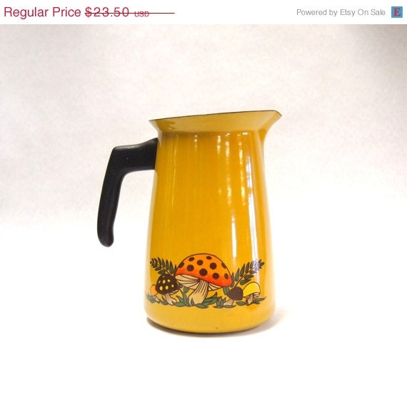 20% off BOO SALE GREAT Vintage 1970s Enamelware Mushroom Pitcher 70s Mustard Yellow with Orange and Brown Shrooms - VivaEstelle