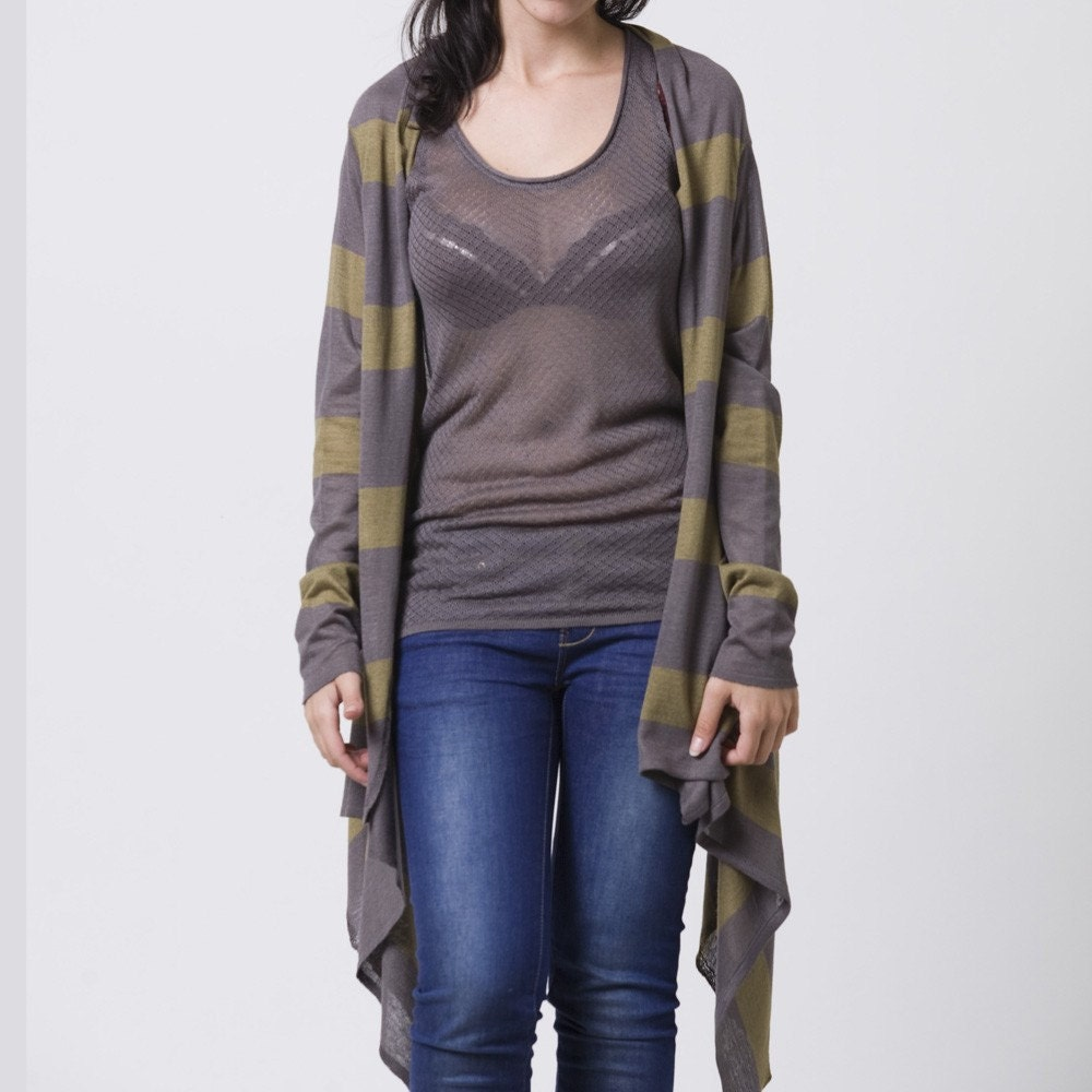 Crazy long sleeves wrap cardigan grey and army green stripes - AndyVeEirn