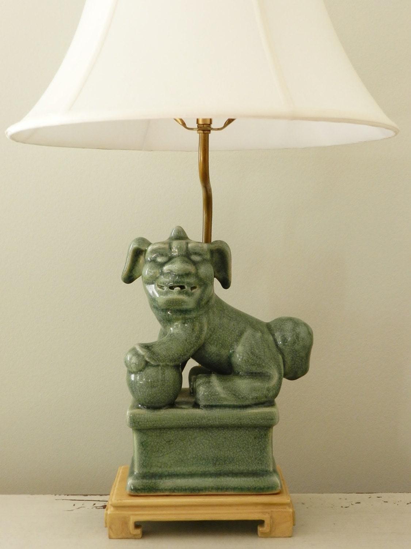 Vintage Foo Dog Lamp End Table Lighting Guardian By