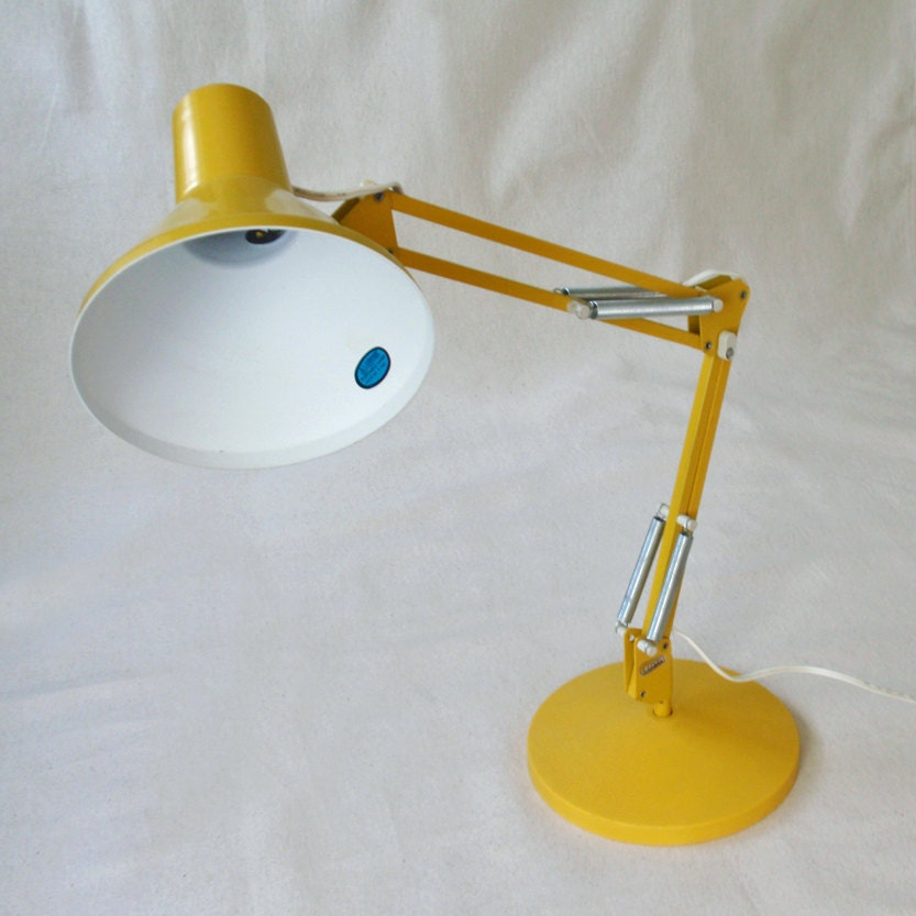 Vintage Yellow Luxo Portable Desk Lamp With Base By