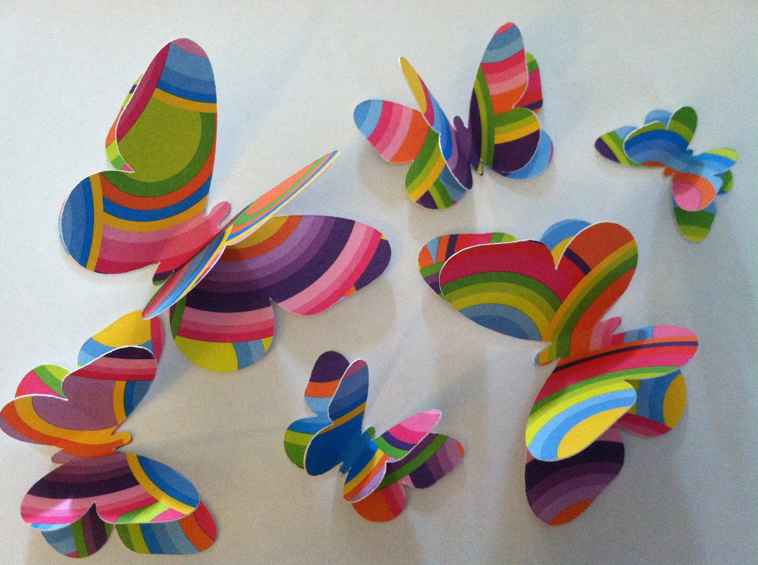 3D rainbow butterflies, wall butterflies, assorted butterfly silhouettes,  rainbow butterflies
