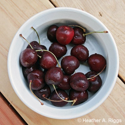 Life is just a bowl of cherries - Cherries in a White Bowl, 5x5