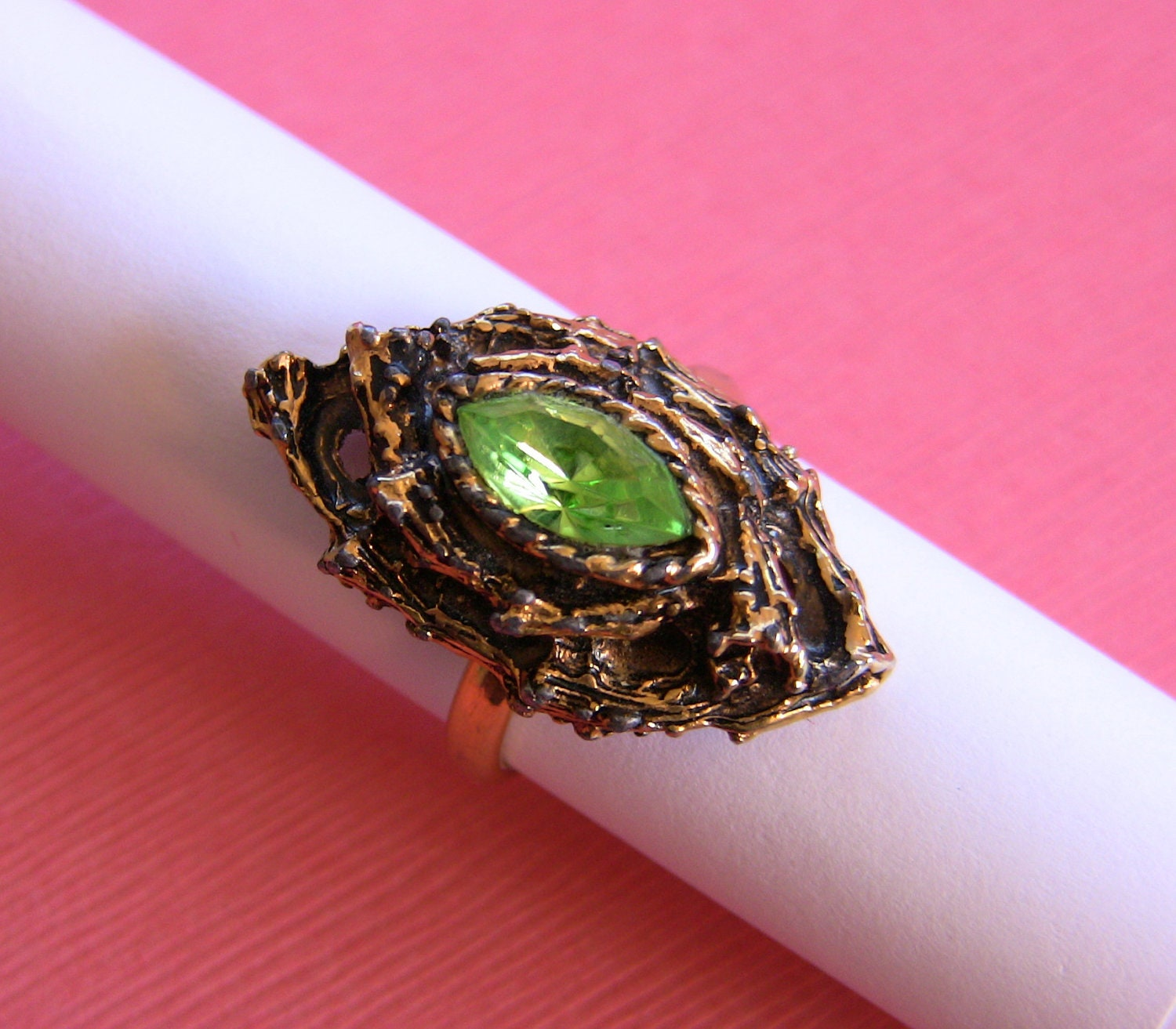 items similar to unique vintage 1960 s peridot color ring
