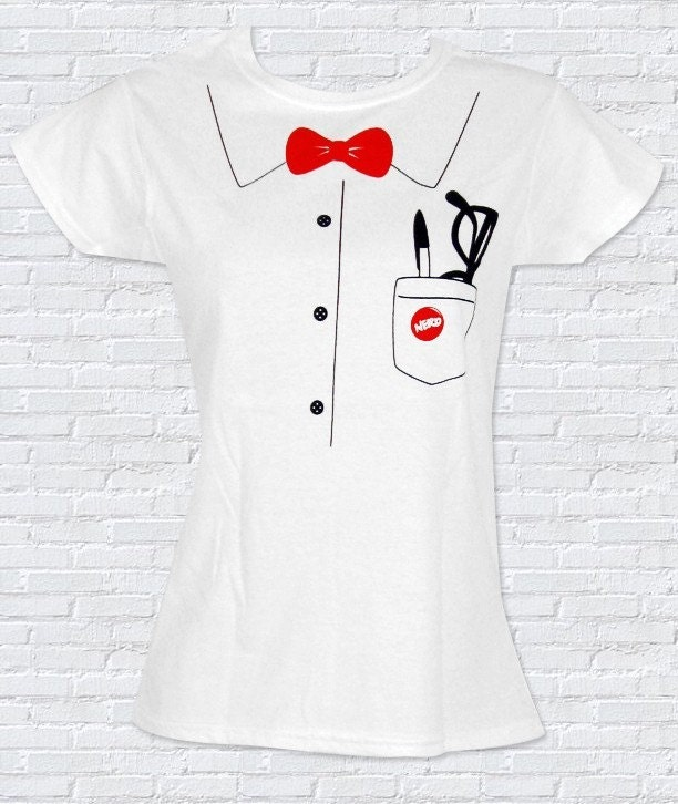 NERD Bowtie and Glasses Pocket Ladies T-Shirt - Sizes S, M, L, XL