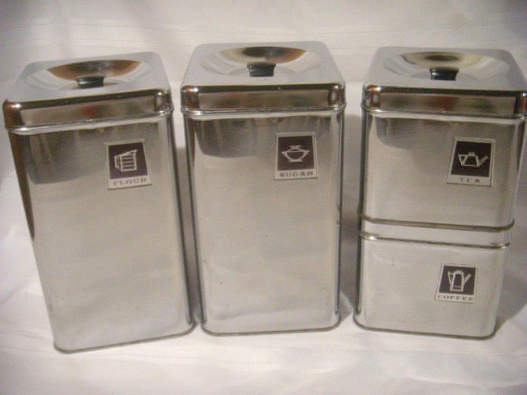 vintage retro chrome metal amp black canister set 4 ebay