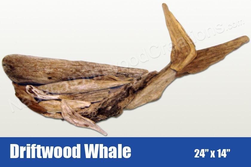Driftwood Whale Hanging Wall Art 24x14