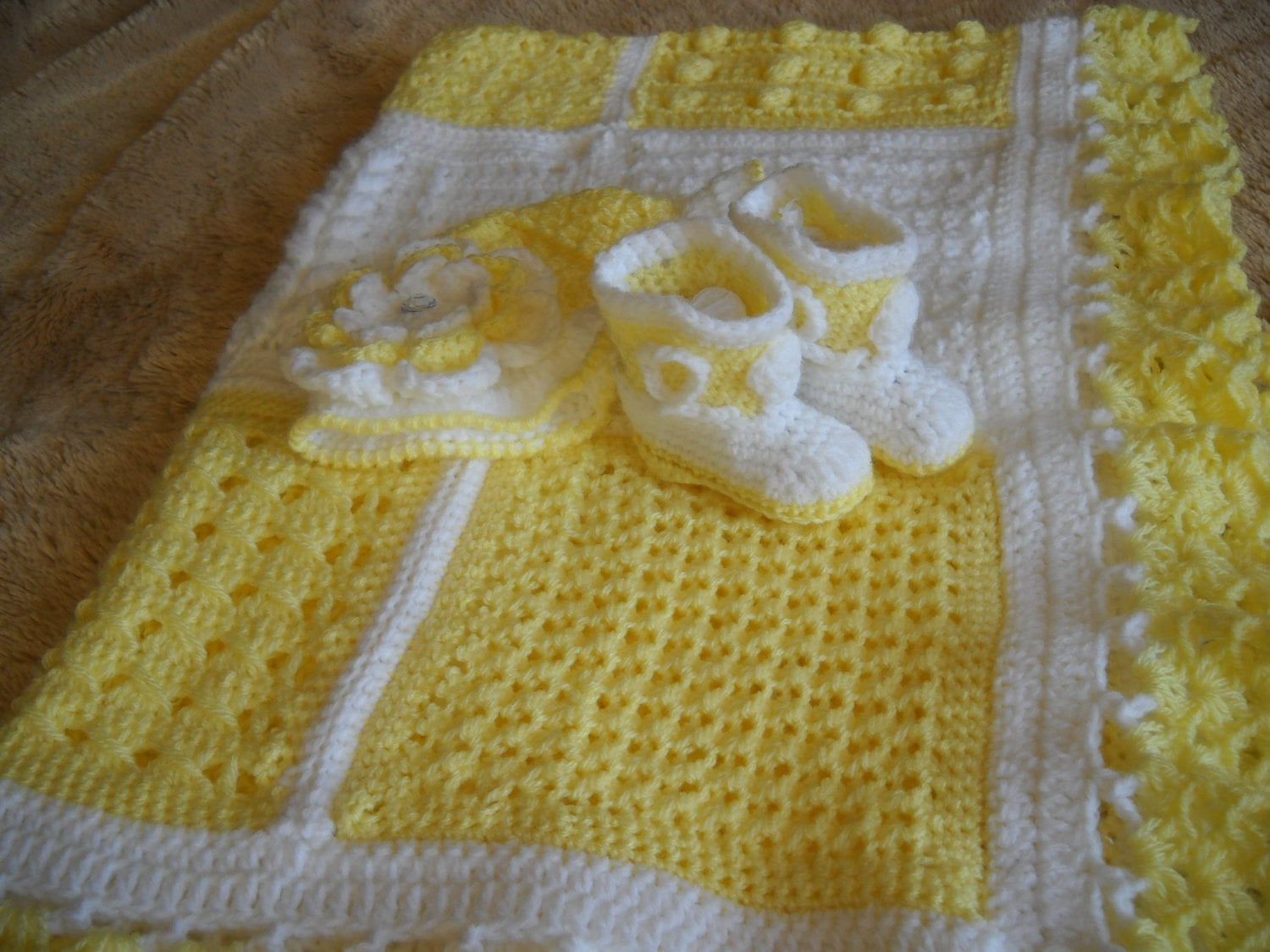 Yellow and White Crocheted Baby Gift Set, Blanket, Hat, and Cowboy(girl) Booties