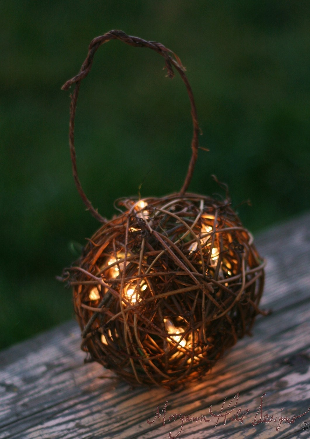 Items similar to Rustic Candles Firefly Lightning Bug Lanterns With Moss Flower Girl Basket ...
