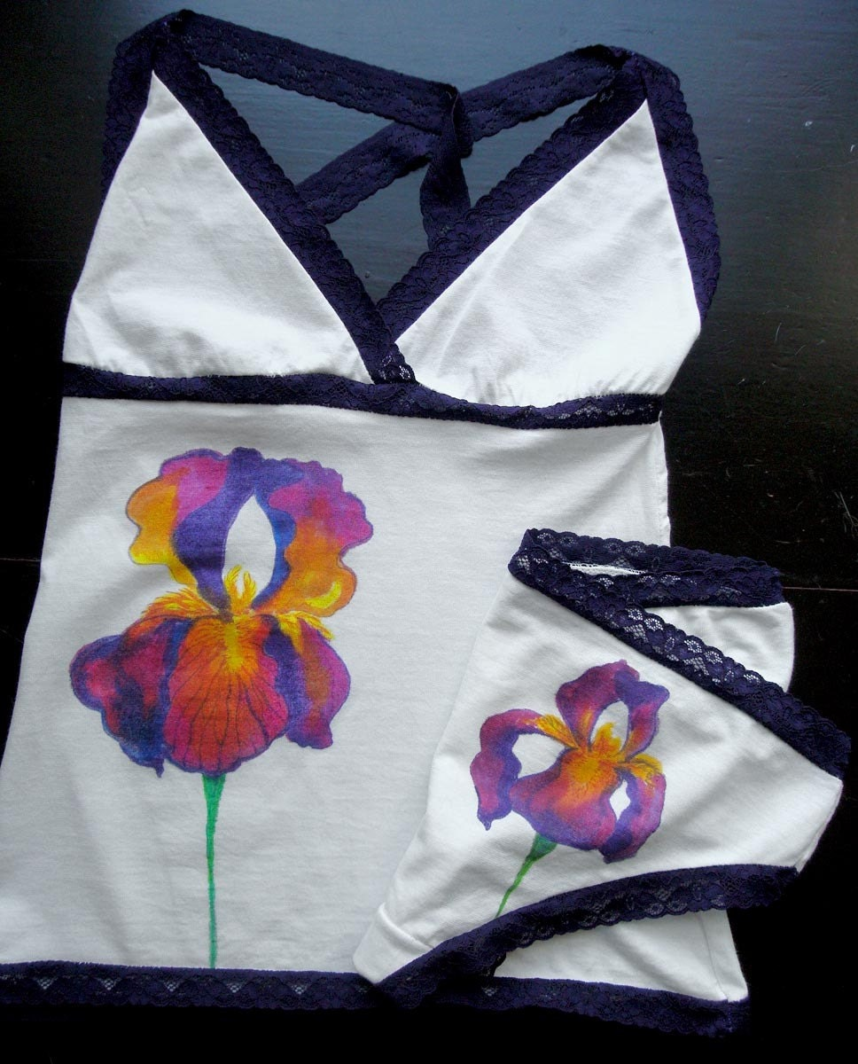 Purple Iris Hand Painted Organic Cotton Camisole and Panty