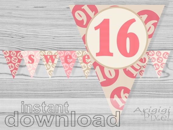 Sweet 16 printable banner, quinceanera, pink, cream, birthday party ...