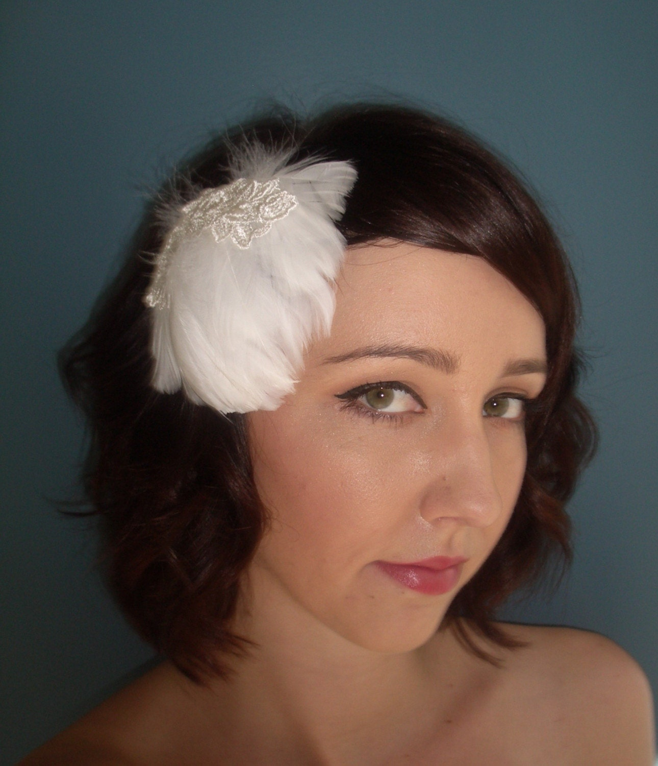 Feathers and vintage lace Fascinator- the Penelope by TessaKim on Etsy from etsy.com