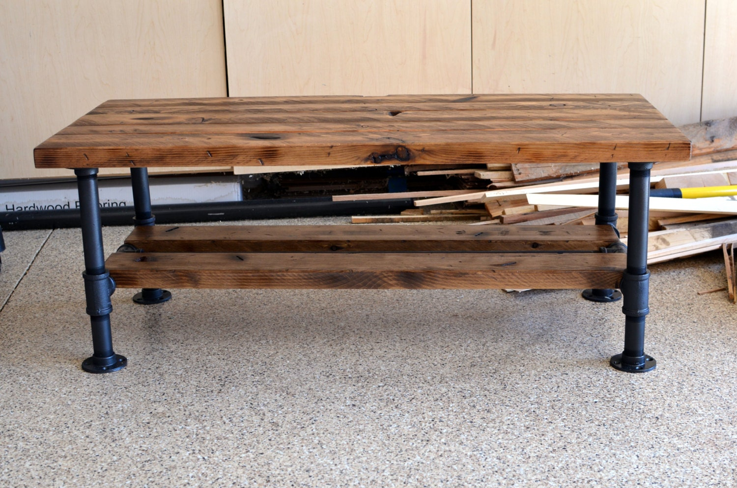 Items Similar To Distressed Knotty Pine Coffee Table With Steel Pipe Legs And A Lower Wood Shelf