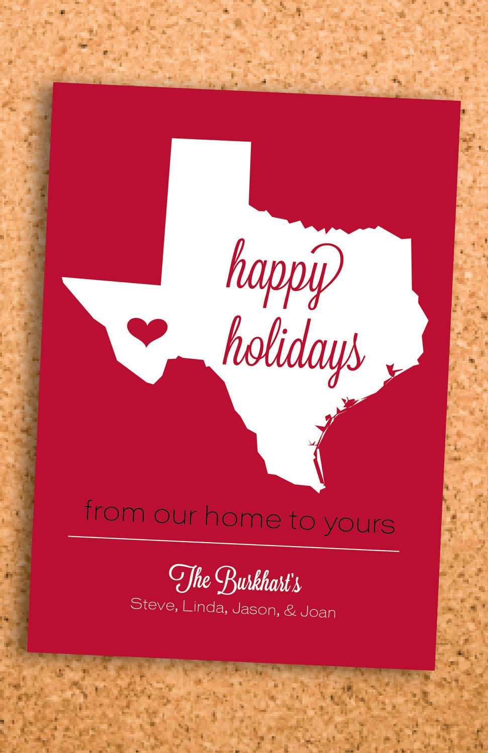 from the heart of home--state holiday card (solid)--5x7 digital file