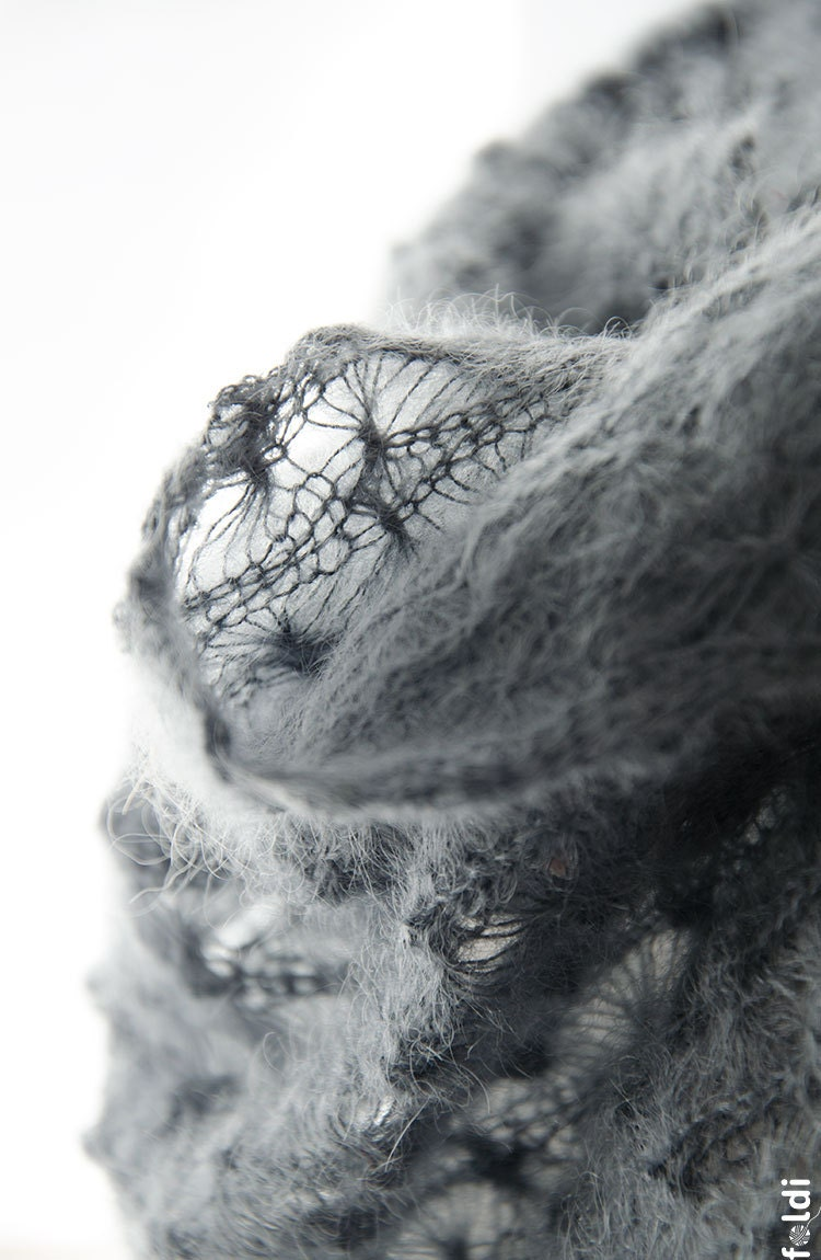 Knitted lace cowl, silk and mohair lace cowl, knitted snood, mohair lace wrap in grey 'Snowflakes' - foldi