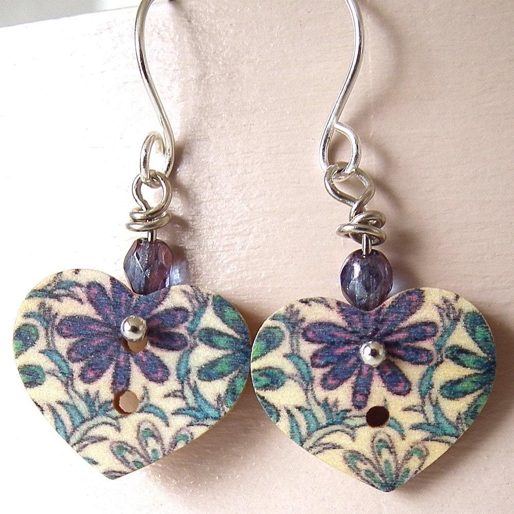 Button Earrings : Sweet Wooden Hearts Blue Flowers